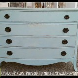 Rachel Ashwell Shabby Chic Chalk Clay Paint Painted antique Bow Front Dresser Shizzle Design Grand Rapids Michigan retailer where to buy Caribbean Blue painted furniture 2