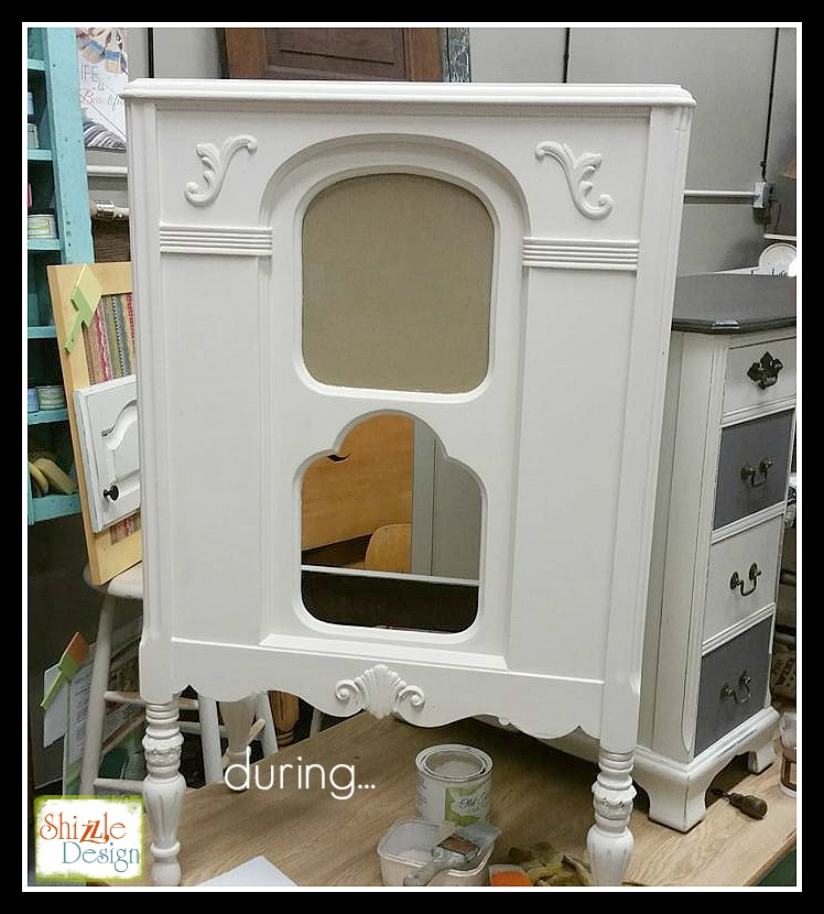 Vintage Stereo Cabinet repurposed into Wine Bar Vintage White Shizzle Design Painted Furniture chalk clay paint Grand Rapids Michigan 2