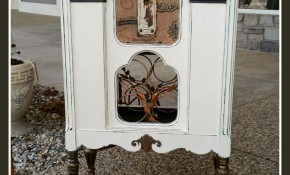Vintage Stereo Cabinet Re-purposed into a Wine Rack Bar using Old Town Paints Vintage White, Deep Chocolate and Metallic Mica Powders