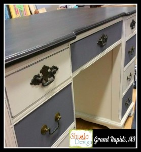 antique desk Faux Real leather finish carbone Bella dark wax chalk paint Shizzle Design Grand Rapids Michigan painted furniture gray white close up 2