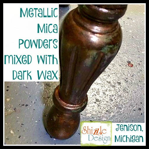 bronze, smoke, copper and black metallic mica powders mixed with dark wax by Shizzle Design in Grand Rapids Michigan chalk clay paint supplier retailer