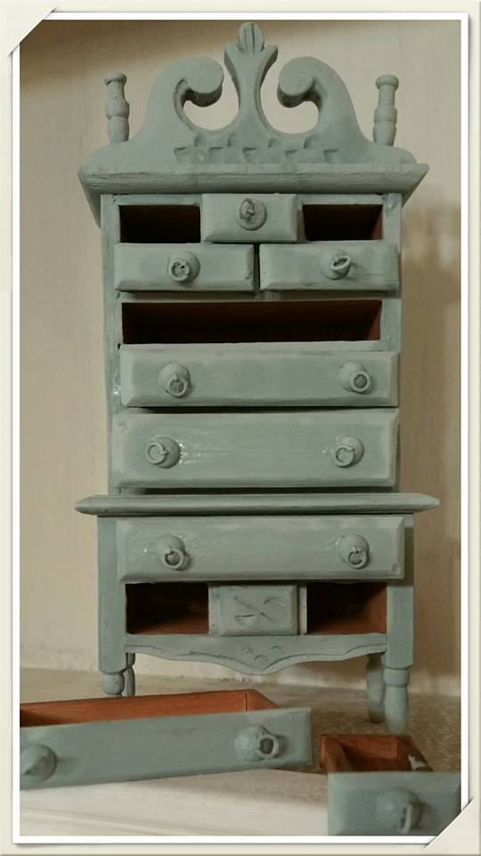 Frenchic Furniture Paint - Mother Duck - medium blue gray similar to Duck Egg Blue chalk mineral furniture paint color - victorian painted doll highboy dresser