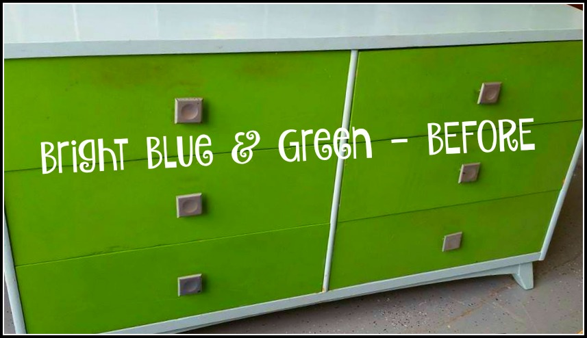 before picture bright blue and green dresser