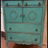 Anquilla Highboy Vintage Antique dresser painted teal in Frenchic's Anguilla Furniture Chalk Paint Supplies Retailer Shizzle Design Jenison Michigan for sale